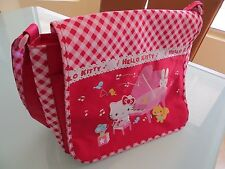 Hello Kitty Kids Girls School Messenger Shoulder Bag Backpack Checkers Red CUTE