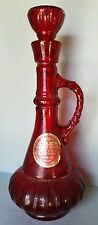 Vtg Jim Beam Glass Ruby Red I Dream of Jeannie Genie Bottle Decanter Sticker