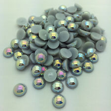 New Hot 100pcs 8mm Half Round Pearl Bead Flat Back Scrapbook for Craft DIY Gray