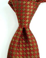 $245 CHARVET VENDOME Satin Brown Red & Black Diamond Check Silk Neck Tie NWT