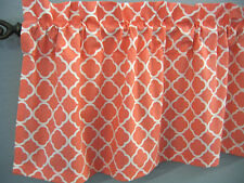 CORAL CURTAIN VALANCE WHITE GEO LATTICE  UNLINED