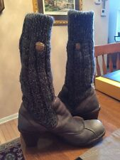 El Naturalista Women's Gray Leather Winter Heeled Sock Boots Shoes Size 9