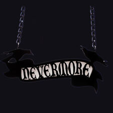 CHERRY LOCO NEVERMORE SCROLL ACRYLIC NECKLACE. EDGAR ALLAN POE. THE RAVEN.