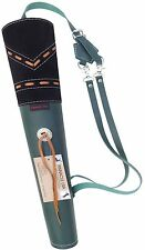 TARGET FINE MILD GREEN LEATHER BACK SIDE ARROW QUIVER ARCHERY PRODUCT AQ-163 MG.