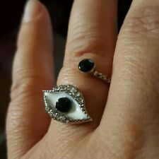 Cz Silver Tone Evil Eye Protection Bypass Ring  Adjustable Black White Crystal