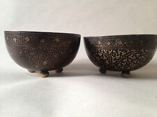 Antique Two Brass Bowls Enamelled In Black Niello