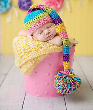Newborn Baby Colourful Hat Theme Crochet Knit Costume Photography Prop Outfit