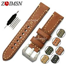 Watch Band Strap THICK Brown Genuine Leather Stainless Steel Buckle Mens 22mm