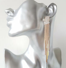 STUNNING! 11.5cm long gold tone & diamante - crystal chain tassel drop earrings