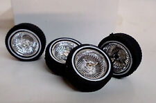 Hoppin Hydros 1/24 1/25 CHROME Baby D's Plastic Model Lowrider Rims W/ WW Tires