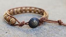 Men's Beaded Wrap Bracelet with Tiger Skin Japser, Brown Leather Bracelet USA