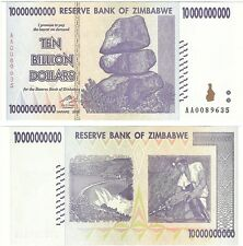 Zimbabwe 10 Billion Dollars 2008 P-85 UNC Hyper Inflation Banknote - Miner