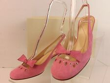NIB KATE SPADE PINK SUEDE ROUND TOE BOW SLINGBACK MID HEEL PUMPS ITALY 9.5