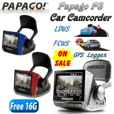 Papago P3 Driving Recorder Cam Full HD 1080P GPS/G-Sensor/LDWS/16G/RED n BLUE