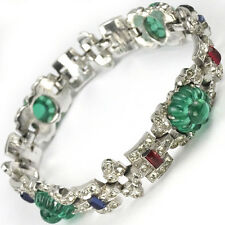 KTF Trifari Alfred Philippe 1930s Jewels of India Emerald Fruit Salads Bracelet