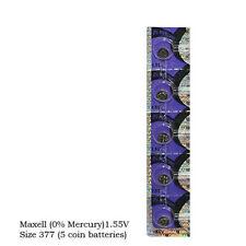 5 NEW MAXEL 377 SR626SW SR66 V377 watch battery - U.S. SELLER - FRESH