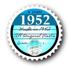 Retro 1952 Tax Disc Disk Replacement Vintage Novelty Licence Car sticker decal
