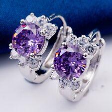 Real White Gold Plated Glittering Purple Cubic Zirconia Women Hoop Earrings