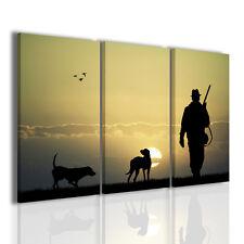 Quadri moderni 3pz. 120x90cm Hunting I quadro moderno scene di caccia tramonto