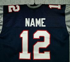 #00 New England Patriots Football Jersey  Your Name&Number -SEWN-ON.Navy.