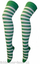 GREEN & WHITE STRIPED OVER THE KNEE SOCKS PUNK ST PATRICKS SANTA ELF FOOTBALL