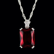 Pendant Rectangle Red Ruby 18K White Gold Plated Cubic Zirconia Necklace Chain