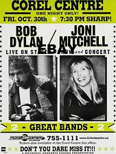 "Bob Dylan / Joni Mitchell Corel Centre16"" x 12"" Photo Repro Concert Poster"