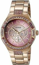 GUESS U0776L3 Women's Rose Gold-Tone Pink Crystal Multi-function Watch NEW**