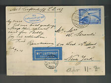1928 Germany Graf Zeppelin LZ 127 Postcard Cover to USA