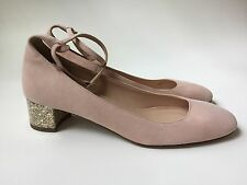 JCrew Contrast Glitter Heels in Suede 8.5 shoes $218 pink f4978 NEW ankle strap