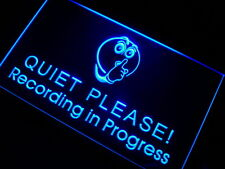 m096-b  Recording in Progress Quiet Please Music Audio Studio Neon Light Sign