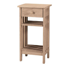Unfinished Solid Parawood Mission Telephone Stand Console Modern Room Table