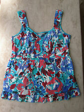 Multicoloured Floral Cotton M&S Per Una Cotton Vest Top in Size 12 - NWOT