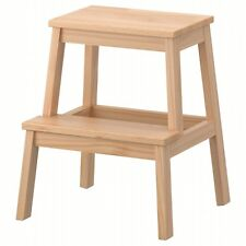 NEW Wooden 2 Step Stool Sturdy Wood Ladder for Kitchen Heavy Duty Bekvam Style