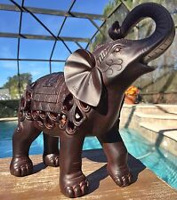 "NEW 10.5"" TRUNK UP ELEPHANT STATUE Feng Shui Home Decor Spring Good Luck Gift"