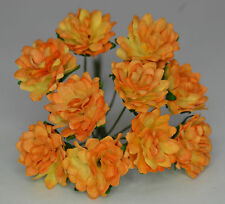 50 GOLDEN APRICOT ASTER daisy Mulberry Paper flower wedding miniature cards
