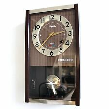 RHYTHM Collectors Item! Wall Clock HIGH GLOSS SPACE AGE Chime Mid Century 30 Day
