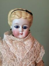 Antique German Glass Eyed Parian Lady Doll with Black Ribbon