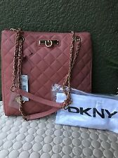 DKNY DONNA KARAN Quilted Lamb Nappa Leather Rose Women Shopper Tote Handbag
