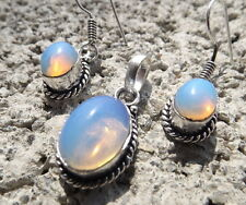 Handmade ethnic silver plated earrings and pendant with opalite cabochons