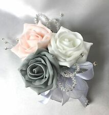 LADIES CORSAGE, BABY PINK, WHITE & GREY ROSES,  ARTIFICIAL WEDDING FLOWERS