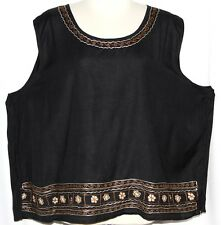 XL 1X Plus Hippie Ethnic Boho Peasant Bohemian Embroidered Gypsy Tank Top Tunic