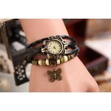 Women Vintage Leather Bracelet Quartz Wrist Watch Butterfly style 7 colors