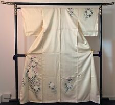 Authentic handmade Japanese silk kimono, beige/flower pattern, excellent (E279)