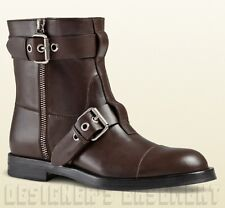 GUCCI mens 9.5G* brown leather SEVENTY buckles & zippers BIKER boots NIB Authent