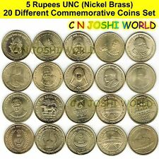 Very Rare 20 Different Nickel Brass 5 Rupees Commemorative Five Rupees UNC Set