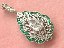 ESTATE ART DECO .89ct PEAR DIAMOND EMERALD PEACOCK-LIKE STYLE COCKTAIL PENDANT