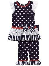 NEW Girl 5 Rare Editions Patriotic SCHOOL CLOTHES NAVY WHITE Eyelet Top Pant Set