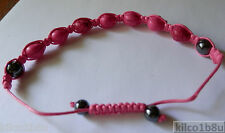 "Resin Bead Skull Bracelet/Anklet pick from 6 colors 7""-10"" Hematite, No Metal"