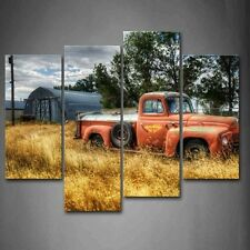 Wall Art Print Canvas Car In Red Painting Picture Wood Frame 4 Panel Decor Gift